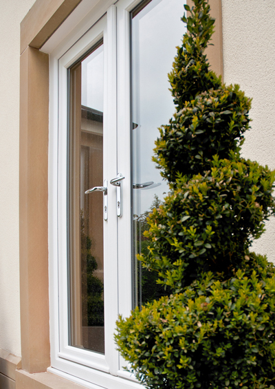 Image of upvc french windows with chrome handlesets