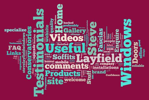 Artwork image in claret and blue colourway, consisting keyword tags based on steve layfield windows' website