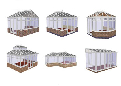 Image of 6 rendered drawings of conservatory styles; including Victorian, Edwardian, Gable, Lantern, P-shape and Lean-to
